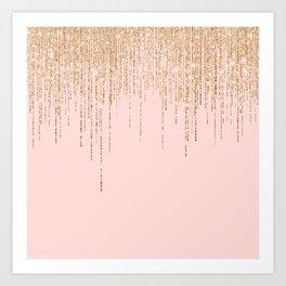 Luxury Blush Pink Gold Sparkly Glitter Fringe Art Print
