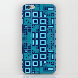 Blue digital geometric abstraction iPhone Skin