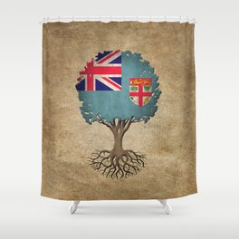 Vintage Tree of Life with Flag of Fiji Shower Curtain