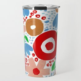 Bold Abstract Floral Inspired Pattern (Red, Peach, Ochre, Blue, Green) Travel Mug