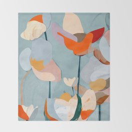 Abstract Art Flowers Throw Blanket