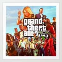 grand theft auto Art Prints featuring Grand theft auto 5 by customgift