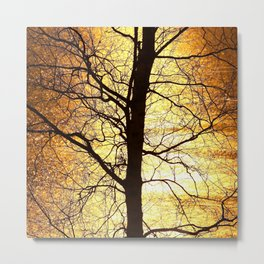 Tree Silhouette At Sunset #decor #society6 Metal Print