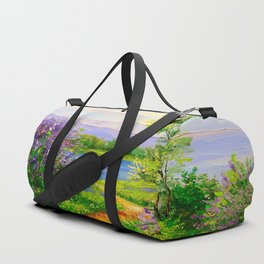 Lilac bloom on the river Duffle Bag
