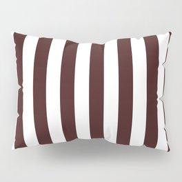Narrow Vertical Stripes - White and Dark Sienna Brown Pillow Sham
