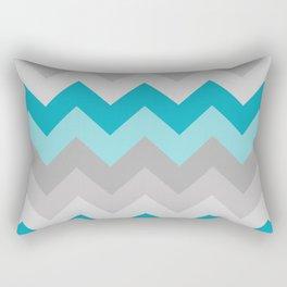 Teal Turquoise Blue Grey Gray Chevron Ombre Fade Rectangular Pillow