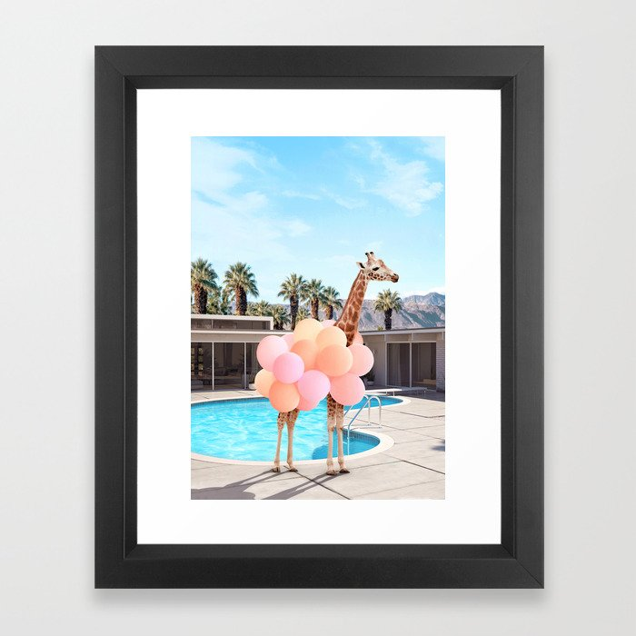 Giraffe Palm Springs Gerahmter Kunstdruck