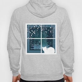 White Kitty Cat Window Watcher Hoody