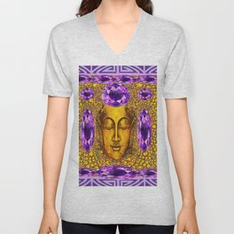 ART NOUVEAU AMETHYST PURPLE & GOLD BUDDHA ABSTRACT Unisex V-Neck