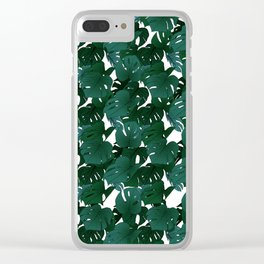 Monstera (Jungle) - Teal x White Clear iPhone Case