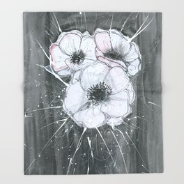 Anemone Flowers illustration gray neutral colors decor Throw Blanket