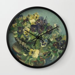 Vincent Van Gogh - Basket of Pansies on a Table Wall Clock