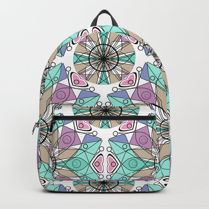Turquoise pink abstract pattern . Backpack