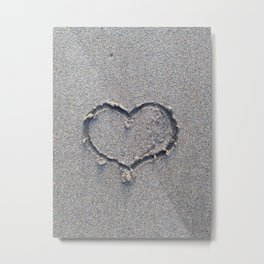 You, me and the sea. Love heart in the sand. Metal Print