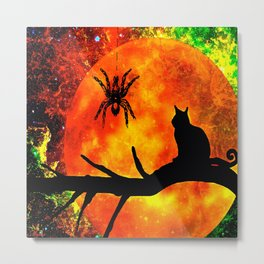 CAT SPIDER AND HARVEST MOON Metal Print