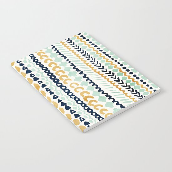 Navy, Teal & Mustard Tribal Notebook