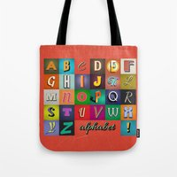 alphabet Tote Bags featuring Alphabet by rob art | simple