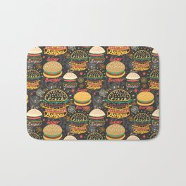 Graphic seamless pattern bright tasty burgers on a dark background Bath Mat