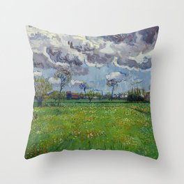 Meadow With Flowers Under a Stormy Sky Throw Pillow