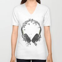 carnage V-neck T-shirts featuring Art Headphones V2 by Sitchko Igor