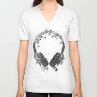 deadmau5 V-neck T-shirts featuring Art Headphones V2 by Sitchko Igor
