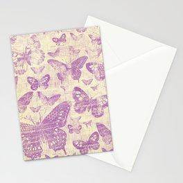 purple, vintage, butterflies, parchment Stationery Cards