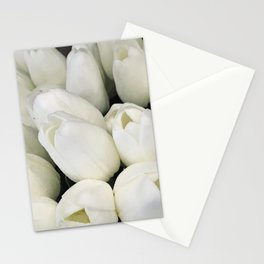 Wedding Day Elegant Mother-Of-Pearl White Tulips Stationery Cards