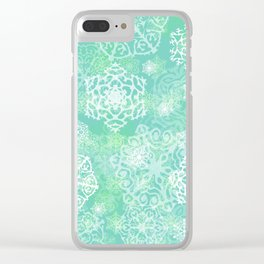 Snowflakes - green Clear iPhone Case