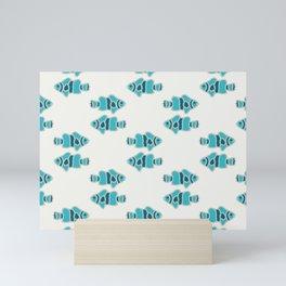 sibling fish geometric water print Mini Art Print