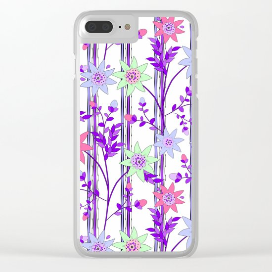 bright floral print. Clear iPhone Case