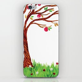 Watercolot tree with apples iPhone Skin