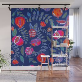 Pomegranate pattern electric blue Wall Mural