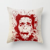 american Throw Pillows featuring American Psycho by David