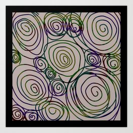 Abstract Artwork Pattern of Color Circles on a Black Background Style #01 Art Print
