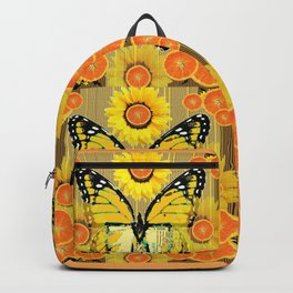 YELLOW MONARCH BUTTERFLY & ORANGES MODERN ART Backpack