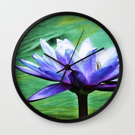 Purple Water Lily Wall Clock