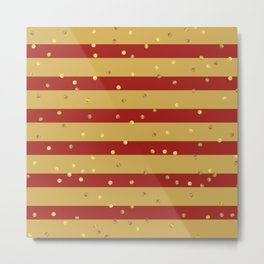 Christmas Golden confetti on Gold and Red Stripes Metal Print