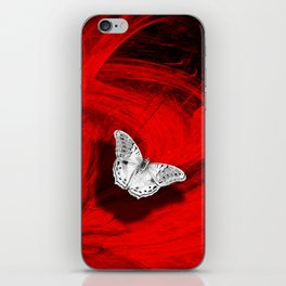 Silver butterfly emerging from the red depths iPhone Skin