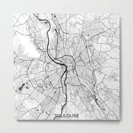 Toulouse Map Gray Metal Print