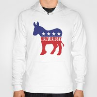 new jersey Hoodies featuring New Jersey Democrat Donkey by Democrat