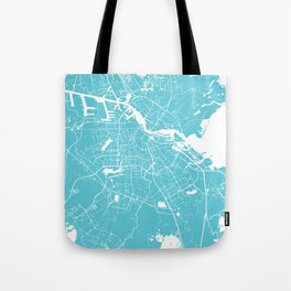 Amsterdam Turquoise on White Street Map Tote Bag