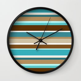Horizontal Stripe Pattern // Caribbean Blue, Ocean Blue, Dark Brown, Caramel Brown, Khaki, White Wall Clock