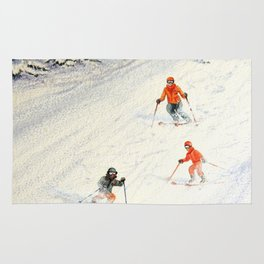 Skiing Family On The Slopes Rug