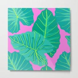 Giant Elephant Ear Leaves in Preppy Pink Metal Print