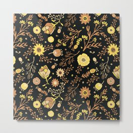 Golden Florals Metal Print