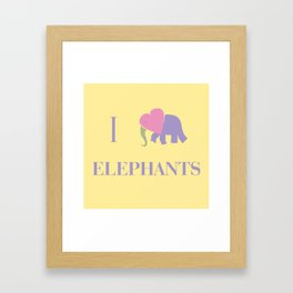 I Heart Elephants Framed Art Print
