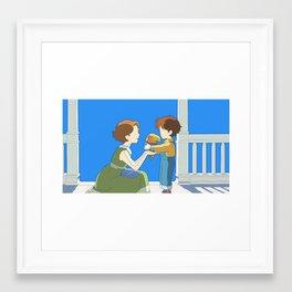 A Touching Moment Framed Art Print