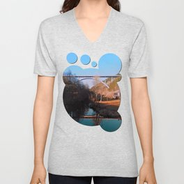 A bridge, the valley and beautiful reflections | Architectural photography Unisex V-Neck