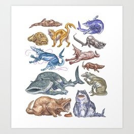 Shark Cats Series 1 Art Print