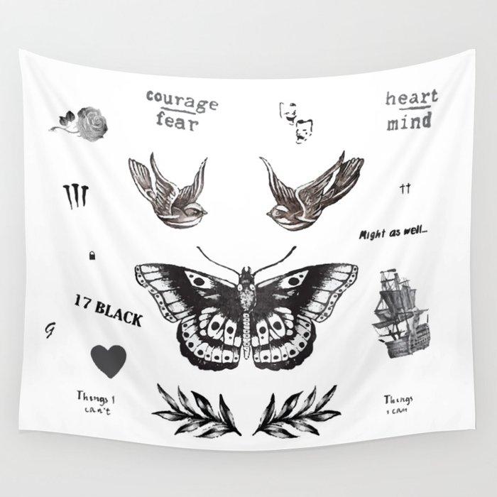 Tattoo à la Harry Wall Tapestry